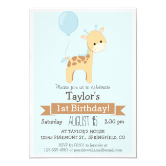 Baby Giraffe Kid's Birthday Party Invitation
