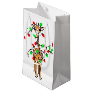 Baby Giraffe - merry and bright Small Gift Bag