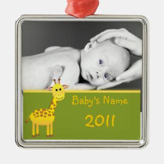 Baby Giraffe/photo Christmas Ornament