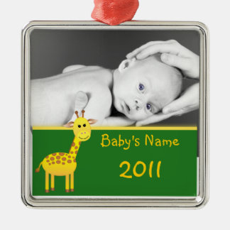 Baby Giraffe/photo Silver-Colored Square Decoration