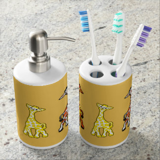 Baby Giraffes In A Row Bathroom Set