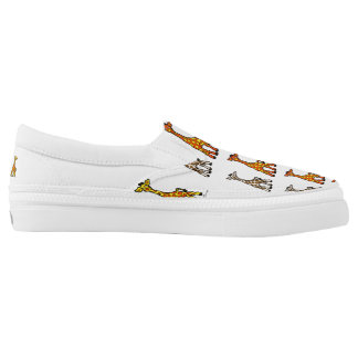 Baby Giraffes In A Row Canvas Slip on Shoes Printed Shoes