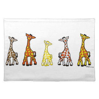 Baby Giraffes In A Row Cloth Placemat
