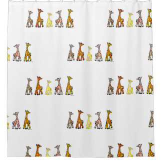 Baby Giraffes In A Row White Shower Curtain