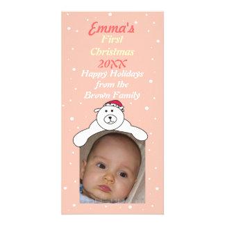 Baby Girl 1st Christmas Cute Polar Bear Photo Card
