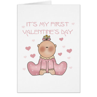 Baby Girl 1st Valentine's Day Greeting Card