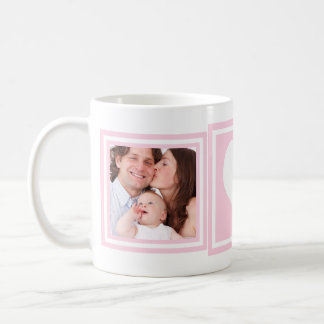 Baby Girl 2 Photos and Heart Basic White Mug