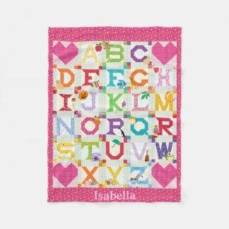 Baby Girl Alphabet Quilt Design Fleece Blanket