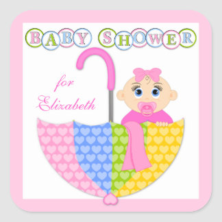 Baby Girl and Umbrella Baby Shower Stickers