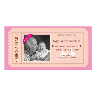 Baby Girl Announcement - Movie Ticket Style Personalized Photo Card