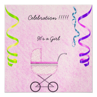 Baby Girl Announcement Party invitation