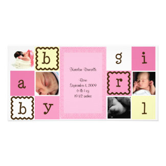 Baby Girl Announcement Personalized Photo Card