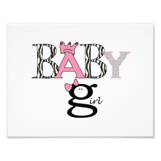 Baby Girl - Announcement - Picture - Wall Hanging Photo Print