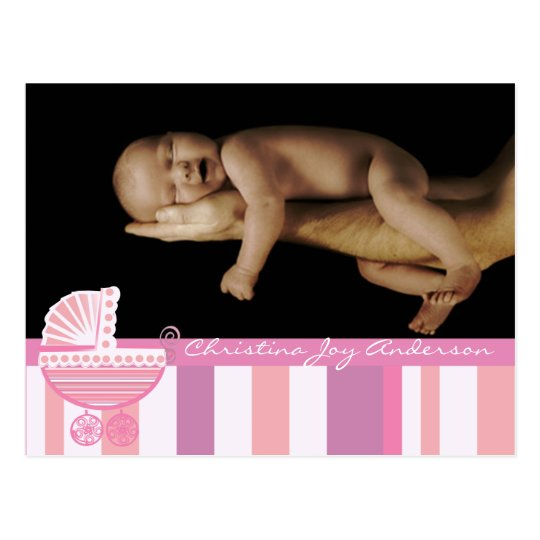 Baby Girl Announcement - Pink Baby Buggy Postcard