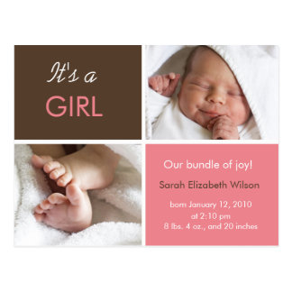 Baby Girl announcement postcards
