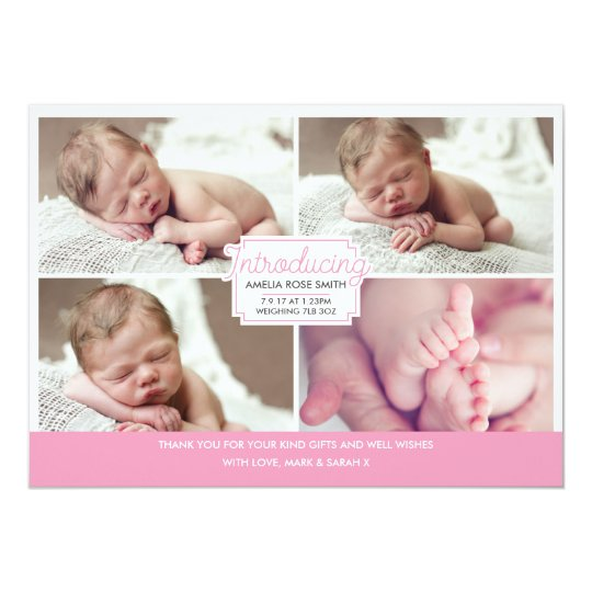 Baby girl announcement/thank you card