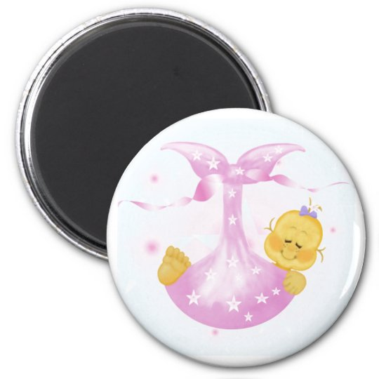 Baby Girl Arrival 6 Cm Round Magnet