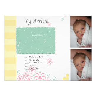 Baby Girl Arrival Scrapbook Title Page Photo Print