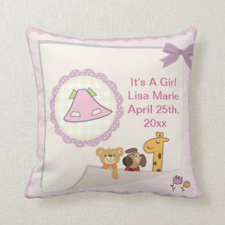 Baby Girl Baby Animals Baby Shower Cushion