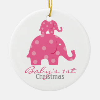 Baby girl baby's first christmas - elephants christmas ornament