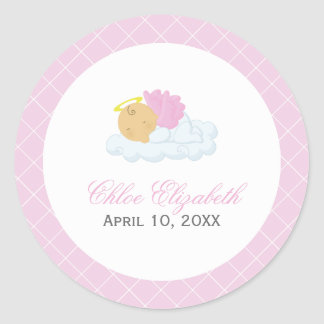 Baby Girl Baptism Classic Round Sticker