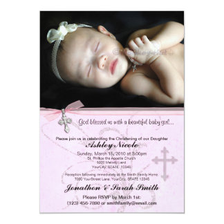 Baby Girl Baptism or Christening Invitation