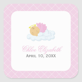 Baby Girl Baptism Square Sticker