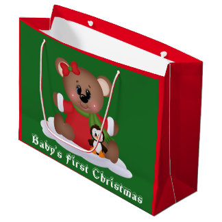 Baby girl bear First Christmas large gift bag