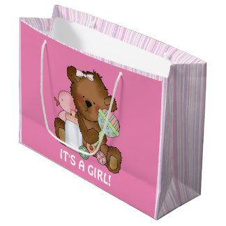 Baby Girl Bear large gift bag