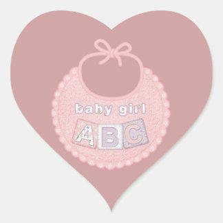 Baby Girl Bib ABC Heart Stickers