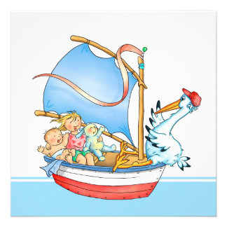 Baby Girl Big Sister in Boat Birth Announcement