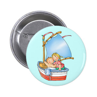 Baby Girl Big Sister in Sailing Boat Button