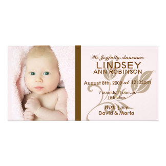 Baby Girl Birth Announcement Photo Greeting Card