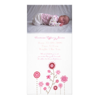 Baby Girl Birth Announcement Photo Card Template