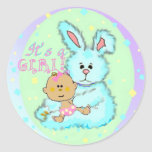 Baby Girl birth announcement Round Sticker