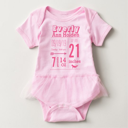 Baby Girl Birth Record Fox Tutu Pink Lettering