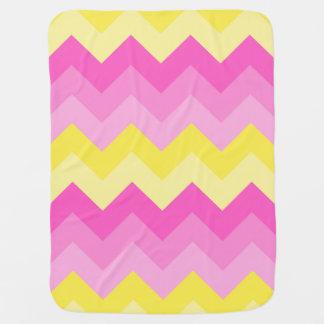 Baby Girl Birth Stats Hot Pink Yellow Chevron Buggy Blankets