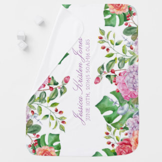 Baby Girl Birth Stats Tropical Romantic Floral Baby Blanket