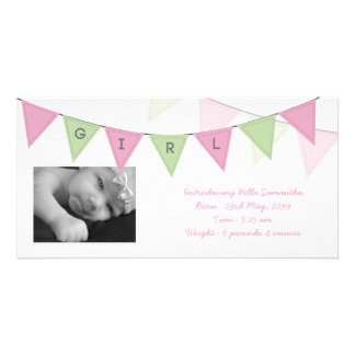 Baby Girl Birth Triangle Flags Banner Photocard Picture Card