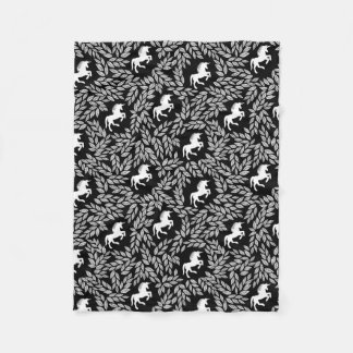 Baby Girl Black and White Unicorn Pattern Fleece Blanket
