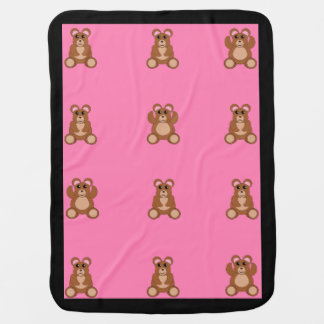 Baby girl blanket with cute teddy bears