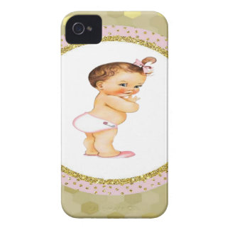 Baby girl Born to greatness Gold/Pink iPhone 4 Case-Mate Cases