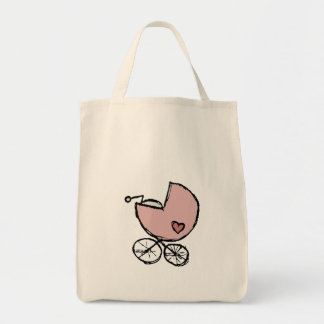 Baby girl buggy with little heart grocery tote bag