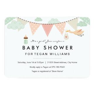 Baby Girl Bunting | Baby Shower Invitation