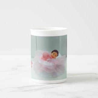 Baby girl cake topper bone china mug
