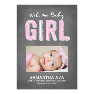 Baby Girl Chalkboard | Birth Announcement