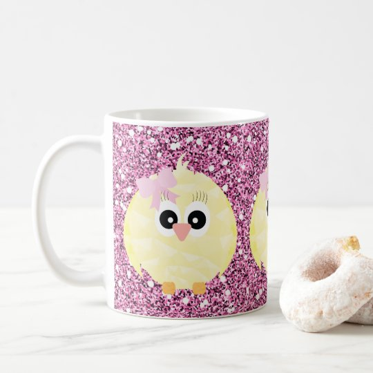 Baby Girl Chicks Pink Faux Glitter Coffee Mug