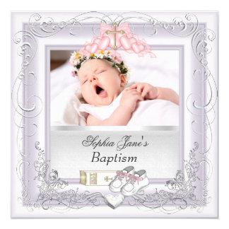 Baby Girl Christening Baptism White Pink 13 Cm X 13 Cm Square Invitation Card