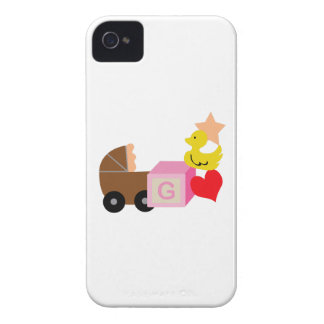 BABY GIRL CORNER BORDER iPhone 4 CASES