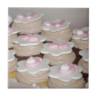 baby girl cupcakes small square tile